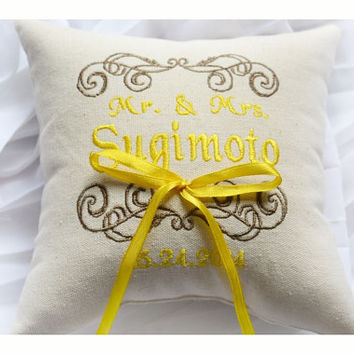 Mr & Mrs Ring bearer pillow , wedding ring pillow , ring pillow, embroidered pillow , Personalized embroidery wedding pillow (R92)