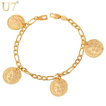 U7 France Coin Charm Bracelets Fashion Gold Color Vintage Figaro Chain Bracelets & Bangles For Women/ Men Jewelry H377