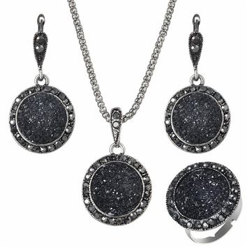 Black Gem Jewelry Set  Antique Silver Crystal Round Stone Pendant Necklace Sets 3Pc