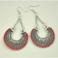 Long Statement Ethnic Black Blue Wedding Red Bohemian Earrings Women Vintage Tassel Big Drop Earrings For Women Fashion Jewelry