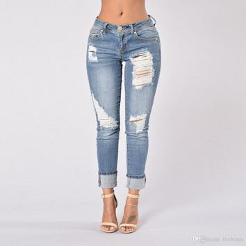 Middle Waist Womens Bleach Ripped Skinny Jeans