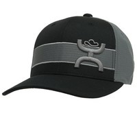 HOOey Black with Grey Stripe & Roughy Logo Flex Fit Cap