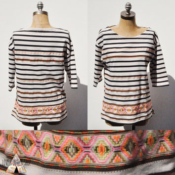 J Crew Aztec Print Top • Embroidered Neon Stripe • Bohemian • Size Medium • 3/4 Sleeves from Lovely Outlet Shop