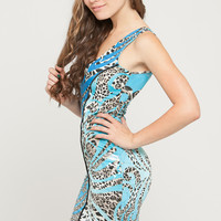 One Shoulder Cut Out Animal Print Dress