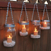 Hanging Mason Jar Garden Lights - DIY Lids Set of 4 Wide Mouth Mason Jar Lantern Hangers or Flower Vase Hangers - Silver Chain