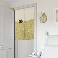 """Japanese Noren Doorway Curtain / Tapestry 33.5"""" Width x 47.2"""" Long with Cat and Yarn Ball"""