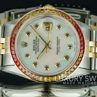 Rolex Men's Datejust 16013 Two Tone 36mm White MOP Sapphire Dial Rainbow Bezel