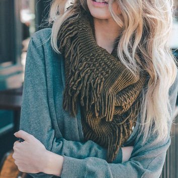 Leto Collection Pointelle Fringe Infinity Scarf