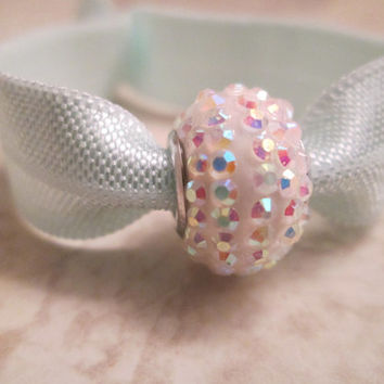 Light teal fold over elastic hair tie, Mint, Pastel accessories, Iridescent sparkly white bead, Disco bead, Spring, Fancy bracelet, Elegant
