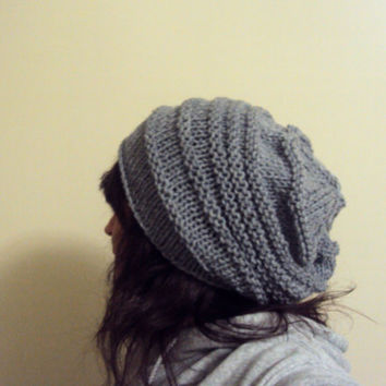 Slouchy Beanie Hat Hand Knit Oversized Grey Slouchy Chunky Hat Chunky Beanie Beret Men Women Spring Summer Fall Winter Clothing Accessories