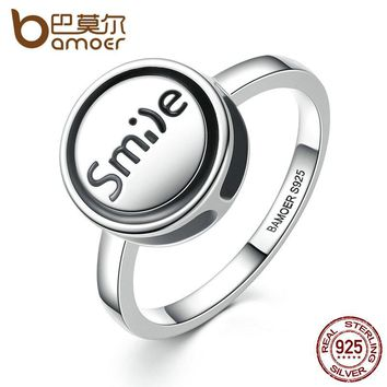 "Fashion Jewelry 925 Sterling Silver DIY Finger Ring ""Smile"" Round Shape Ring Women Fashion Jewelry SCR012"