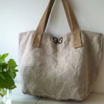 Upcycled postbag canvas bag / tote weekender by boonestaakjes