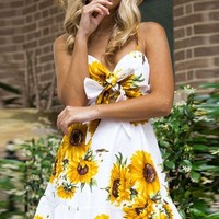 White Sunflower Print Spaghetti Straps Knotted Casual A Line Dress