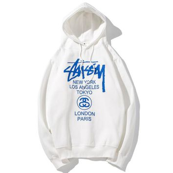 Stussy Autumn Winter Fashion Women Men Casual Blue Letter Print Hooded Velvet Sweater Top Sweatshirt White I13827-1