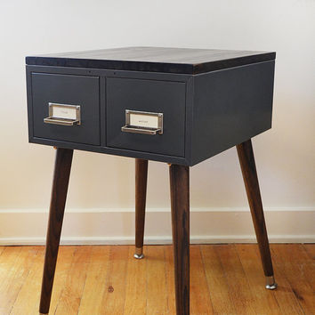 Mid Century Modern Inspired Card Catalog Table (PAIR AVAILABLE)