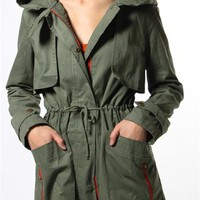 Lightweight Trench Coat with Hoodie - Olive from Love Tree at Lucky 21 Lucky 21