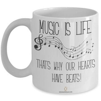 Music is Life Mug, Gifts for Music Lovers, Gifts for Coffee Lovers, with Inspirational Quote