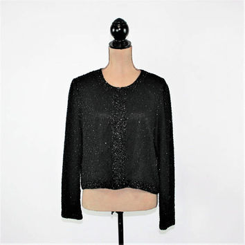 Black Beaded Jacket Women Silk Cocktail Jacket Formal Cardigan Jacket Evening Dressy Jacket Black Jacket Medium Large Women Vintage Clothing
