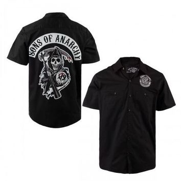 Sons of Anarchy Classic Reaper Patch Adult Black Button Up Workshirt - Sons of Anarchy - | TV Store Online