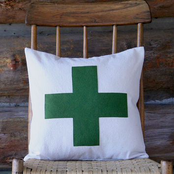 Swiss Cross Pillow Cover – Army Green