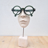 Eyeglass stand terracotta sculpture - Office and home art, nose and mouth fragment -  gift for him - white clay