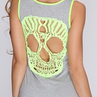 Grey Lime Crochet Skull Maxi Dress