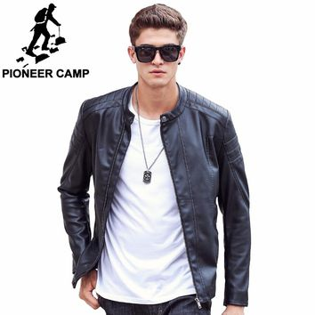 Pioneer Camp Motorcycle Leather Jackets Men Spring Leather Clothing Male casual Coats Brand clothing 611310