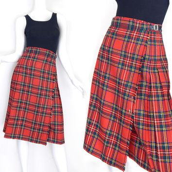 Sz XS 80s Red Tartan Plaid Kilt Skirt - Vintage Women's High Waisted Leather Buckle Pleated Plaid Midi Skirt - 2 4 Extra Small - 26 Waist