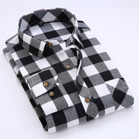 2017 Men's Long Sleeved Plaid Brushed Flannel Shirt with Left Chest Pocket Slim-fit Comfort Soft Casual Checkered Work Shirts