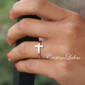 Celebrity Style Sideways Cross Ring Made From Sterling Silver With Optional Yellow Gold or Rose Gold Overlay