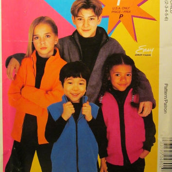 SALE Uncut McCall's Sewing Pattern, P480! 2-3-4-5-6 Toddlers/Girls/Boys Fleece Jackets/Ski Vests/Winter/Fall/Spring/Warm Coats/Sleeveless Ja