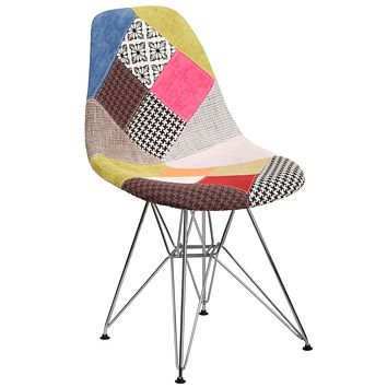 Elon Series Fabric Chair with Chrome Base - Turin Patchwork