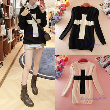 New Hot Fashion Womens The Cross Pattern Knit Sweater Outwear Crew Pullover Tops