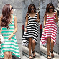 Women Summer Casual Striped Sexy Beach Dresses Sundress = 1928426436