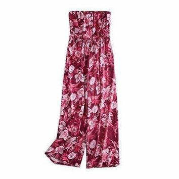 nymphWomen jumpsuits bohemian wrapped chest elastic waist female rompers Elegant club printed overalls plus size