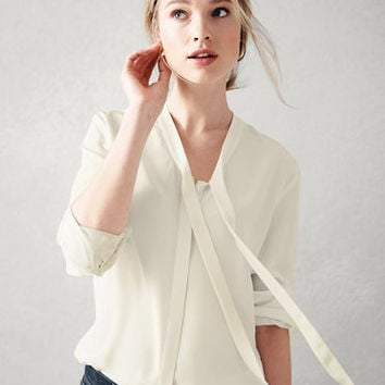 Silk-Bow-Detail Blouse