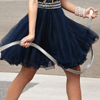 Lovely Short Navy Blue Lace Beaded Homecoming Dresses