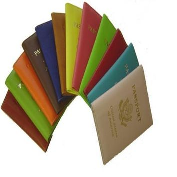 Leather Cover Passport Holder Travel Wallet with Logo