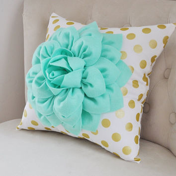 Gold Polka Dot Pillow with Mint Green Dahlia Flower, Decorative Pillow, Metallic Gold Pillow, Nursery Decor Pillow