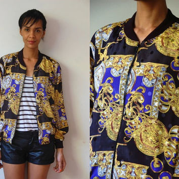 Vtg Baroque Print Gold Blue Black Zip Up Light Bomber Jacket