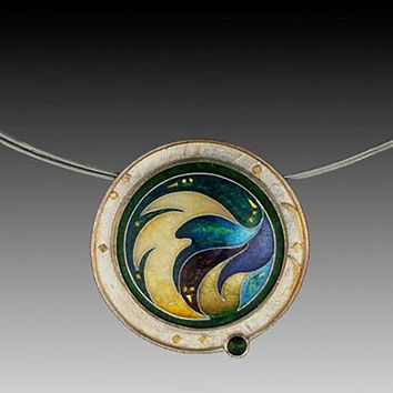 All NEW One of a Kind  Cloisonne and Gold VOLANT Pendant
