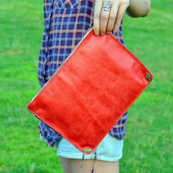 RED &Green - leather clutch, iPad case, large leather purse