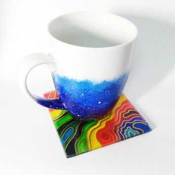 Rainbow Glass Cup Coaster Hand painted multi colored coaster