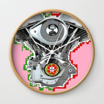 Portuguese Hot Pink Pan. Wall Clock by Tony Silveira