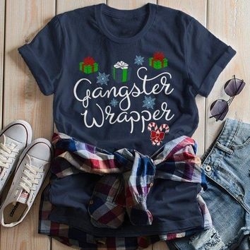 Women's Funny Gangster Wrapper T Shirt Christmas Shirts Wrapping Presents Graphic Tee