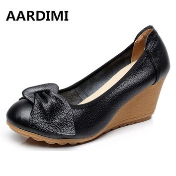 New arrival vintage mary janes women shoes genuine leather spring slip on high heels black white wedges shoes women pumps