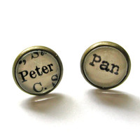 Peter Pan Fairy Tale Neverland Vintage Library Card Word Earrings Aged Brass