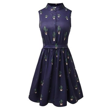 Summer Women Cactus Prints Vintage Party Dresses High Waist A-Line Sleeveless Retro Mini Dress for Female Cloth Lady Vestidos