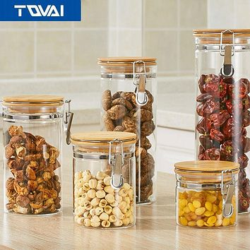 TQVAI- Storage Bottles Glass Jar Sealed Cans with Bamboo Cover Large Capacity Tampion Cereals Glass Bottle Tea Box .honey pot