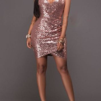 Streetstyle  Casual Pink Plain Sparkly Sequin Spaghetti Straps Bodycon Ruched NYE Party Mini Dress